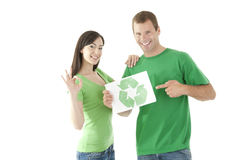 People holding recycling symbol Royalty Free Stock Image