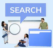 People holding search engine and file browsing icons royalty free stock photos