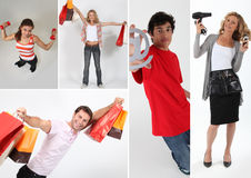 People holding shopping bags stock photo