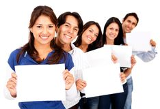 People holding small banners Royalty Free Stock Photo