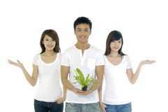 People on holding a small plant Royalty Free Stock Photography