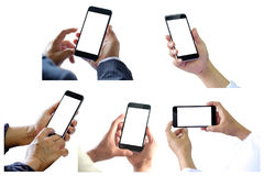 People holding smart phone 5 various photos collection. For graphic montage Stock Photo