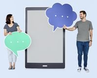 People holding speech bubble icons stock images