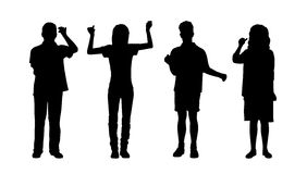 People holding standing silhouettes set 2 Royalty Free Stock Images