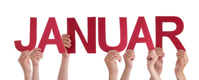 People Holding Straight German Word Januar Means January Stock Image