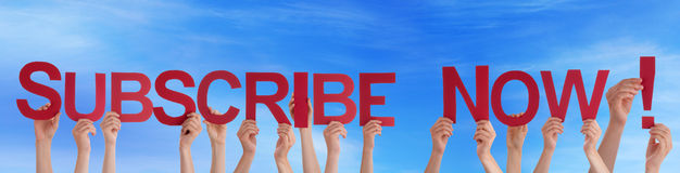People Holding Subscribe Now in the Sky Royalty Free Stock Images