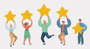 People holding in hands gold stars. Rating concept. People holding in their hands gold stars. Men and women rate services and user experience. Juries rating in vector illustration
