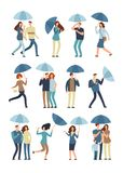 People holding umbrella, walking outdoor in rainy spring or fall day. Man, woman in raincoat under rain vector flat Vector Illustration