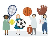People holding a variety of sports equipment vector illustration