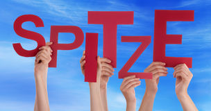 People Holding Word Spitze Means Super Blue Sky Stock Images
