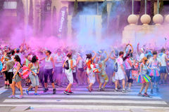People at the Holi Color Run Party in the streets of the city Stock Photography