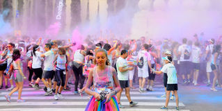 People at the Holi Color Run Party in the streets of the city Stock Images