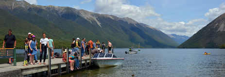 People on Holiday at Lake Rotoiti in Nelson Lakes district New Z stock images
