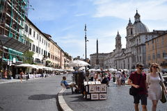 People on a holiday in Rome, Italy. A picture of Piazza Navona in Rome, Italy Stock Image