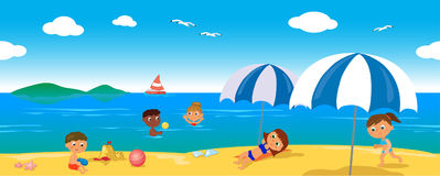 People on holiday at the sea, seamless line vector Stock Photos