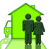 People Home and Car Stock Photography