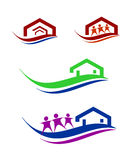 People and home logo set. Collection of construction and home improvement related business logo royalty free illustration