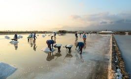 People on the Hon Khoi salt factory in Nha Trang, Vietnam Royalty Free Stock Photos