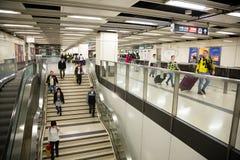 People in Hong Kong subway underpass Royalty Free Stock Image