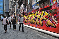 People at the Hosier Lane, Melbourne. Stock Photos