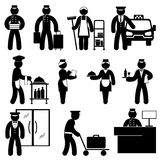 People hotel attendant. Set black and white vector icons of hotel attendant Royalty Free Stock Photos