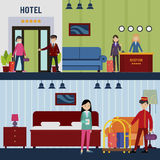 People In Hotel Horizontal Banners Stock Photography