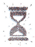 People in an hourglass shape. A large group of people in an hourglass shape. Flashmob, isolated, white background Stock Photo
