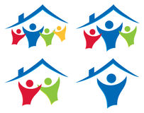 People House Logo Set. A simple house home and people together logo icon set Stock Photos