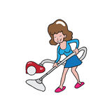 People house work woman vacuum Royalty Free Stock Images