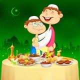 People hugging and wishing Happy Bakrid Stock Image