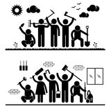 People Humanity Volunteer Pictograms. A set of pictograms representing group of volunteer people ready for cleaning activity Royalty Free Stock Photography