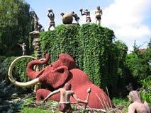 People hunting a mammoth. Bautzen, Germany - August 16, 2005: Saurierpark - people hunting a mammoth Stock Photos