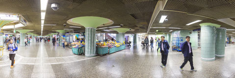 People hurry in Metro Station Hauptwache to reach the Subway. FRANKFURT, GERMANY - SEP 11, 2015: people hurry in Metro Station Hauptwache to reach the Subway in Royalty Free Stock Image