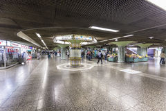 People hurry in Metro Station Hauptwache to reach the Subway. FRANKFURT, GERMANY - SEP 11, 2015: people hurry in Metro Station Hauptwache to reach the Subway in Stock Photo