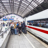 People hurry to the intercity train Royalty Free Stock Image