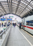 People hurry to the intercity train Royalty Free Stock Photos