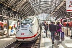 People hurry to train at Frankfurt Royalty Free Stock Photo