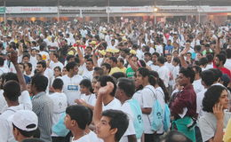 People at Hyderabad 10K Run Event, India Royalty Free Stock Photos