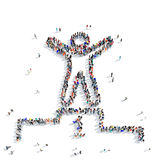 People i pedestal winner sports. A large group of people in the shape of a pedestal, winner, sports, icon, isolated on white background, 3D illustration Royalty Free Stock Image