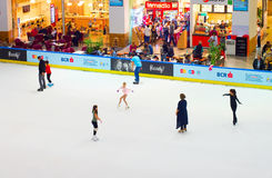 People at ice rink Stock Photo