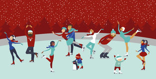 People on ice rink. Various people characters on winter ice rink Royalty Free Stock Images