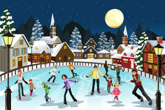 People ice skating vector illustration