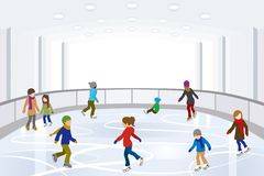 People Ice Skating in indoor Ice Rink Stock Photo