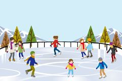 People Ice Skating in nature Ice Rink. Illustration of People who Ice Skating in nature Ice Rink Stock Photos