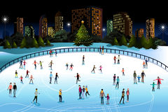 People Ice Skating Outdoor. A vector illustration of people ice skating outdoor in the city Royalty Free Stock Images
