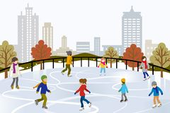 People Ice Skating on Urban Ice Rink Stock Image