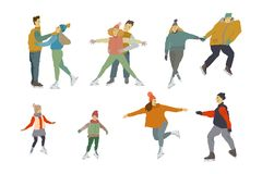 People ice skiing Men women and children on ice skates. Human figure in motion royalty free illustration