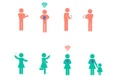 People icon both male and female and baby icon shape with activi Royalty Free Stock Image