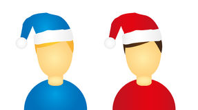 People icon, christmas hat Stock Photos