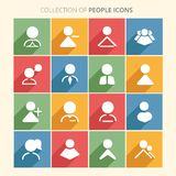 People icon collection with shadow in trendy flat style isolated on colorful background. royalty free stock image